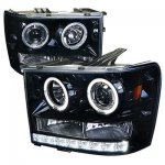 GMC Sierra 2007-2013 Smoked Projector Headlights Halo LED DRL