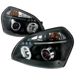 Hyundai Tucson 2005-2009 Black Dual Halo Projector Headlights with LED