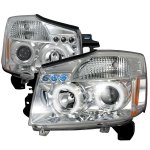 2007 Nissan Titan Clear Dual Halo Projector Headlights with LED