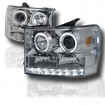 GMC Sierra 2007-2013 Chrome Projector Headlights Halo LED DRL