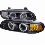 2003 BMW 5 Series Black Halo Projector Headlights with LED Signal Lights
