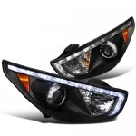 Hyundai Tucson 2010-2012 Black Projector Headlights LED DRL