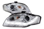 Audi A4 2006-2008 LED DRL Projector Headlights Chrome