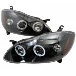 2007 Toyota Corolla Black Halo Projector Headlights with LED