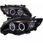 2009 Toyota Corolla Black Dual Halo Projector Headlights with LED