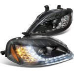 2000 Honda Civic Black Projector Headlights with LED Corner Lights