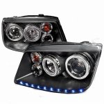 VW Jetta 1999-2004 Black Projector Headlights Halo LED DRL