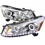 2008 Honda Accord Sedan Clear Projector Headlights Halo LED DRL
