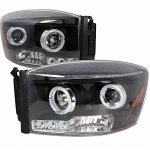 Dodge Ram 2500 2006-2009 Black Halo Projector Headlights LED