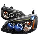 2002 Honda Civic Black Halo Projector Headlights with LED
