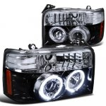1995 Ford Bronco Smoked Halo Projector Headlights