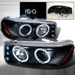 GMC Sierra 2500 1999-2004 Black Halo Projector Headlights with LED
