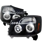 Nissan Titan 2004-2015 Black Dual Halo Projector Headlights with LED