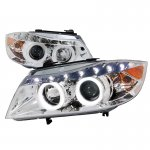 2007 BMW 3 Series Sedan Chrome Projector Headlights Halo LED DRL