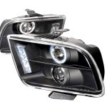 Ford Mustang 2005-2009 Black Halo Projector Headlights with LED Daytime Running Lights