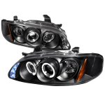 Nissan Sentra 2000-2003 Black Halo Projector Headlights with LED