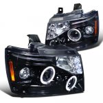 2011 Chevy Suburban Smoked Halo Projector Headlights LED Eyebrow