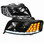 Audi A6 2002-2004 Black HID Projector Headlights with LED Corner Lights