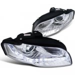 Audi A4 2006-2008 Projector Headlights Chrome LED DRL