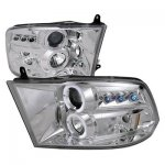 2012 Dodge Ram Clear Dual Halo Projector Headlights with LED