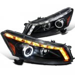 Honda Accord Sedan 2008-2012 Halo Projector Headlights LED DRL Black