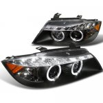 BMW 3 Series Sedan 2006-2008 Black Halo Projector Headlights LED