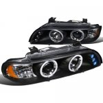 BMW 5 Series 2001-2003 Black Halo Projector Headlights with LED