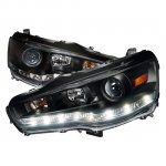 Mitsubishi Lancer 2008-2012 Black Projector Headlights LED DRL