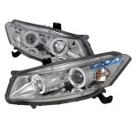 Honda Accord Coupe 2008-2012 Clear Halo Projector Headlights with LED