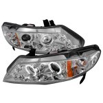 Honda Civic Sedan 2006-2011 Clear Dual Halo Projector Headlights with LED