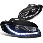 2007 Audi A4 Projector Headlights Black LED DRL