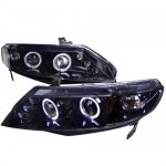 Honda Civic Sedan 2006-2011 Smoked Halo Projector Headlights with LED