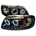 2002 Ford F150 Black CCFL Halo Projector Headlights with LED Eyebrow