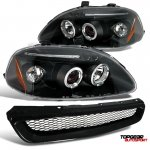 Honda Civic 1996-1998 JDM Black Dual Halo Projector Headlights and Mesh Grille