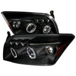 Dodge Caliber 2007-2010 Black Halo Projector Headlights with LED