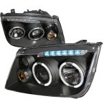 2001 VW Jetta Black Dual Halo Projector Headlights with LED