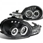 Dodge Neon 2000-2002 Black Dual Halo Projector Headlights with LED