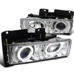 Chevy Silverado 1994-1998 Clear Projector Headlights with Halo and LED