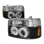 1995 Ford F250 Black Dual Halo Projector Headlights