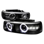 Chevy Silverado 1999-2002 Projector Headlights Black Halo LED