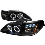 Ford Mustang 1994-1998 Black Halo Projector Headlights with LED