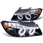 2007 BMW 3 Series Sedan Smoked Projector Headlights Halo LED DRL