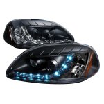 1998 Honda Civic Black Projector Headlights with LED Daytime Running Lights