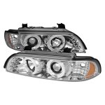 BMW 5 Series 2001-2003 Chrome Projector Headlights Halo LED