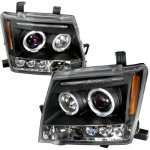 Nissan Xterra 2005-2009 Black Dual Halo Projector Headlights with LED