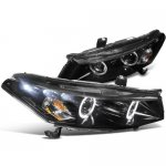 2008 Honda Accord Coupe Smoked Halo Projector Headlights with LED