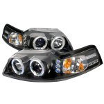 2001 Ford Mustang Black Dual Halo Projector Headlights with LED