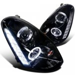 Infiniti G35 Sedan 2005-2006 Smoked Projector Headlights Halo LED DRL
