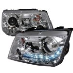 2001 VW Jetta Clear Projector Headlights with LED Daytime Running Lights