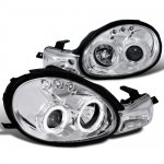 Dodge Neon 2000-2002 Clear Dual Halo Projector Headlights with LED